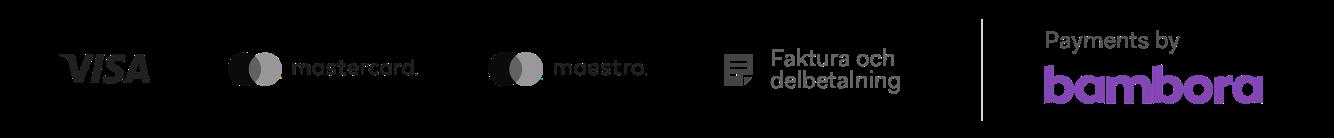 Visa, Mastercard, Maestro, Fakturabetalning genom Bambora och Collector Bank